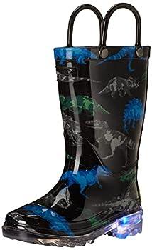 Western Chief Boys  Light-Up Waterproof Rain Boot Dinosaur Friends 10 M US Toddler