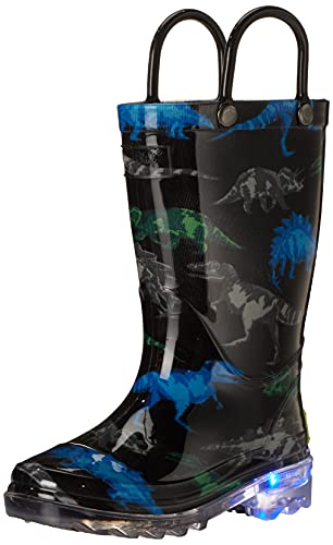 Western Chief girls Light-up Waterproof Rain Boot, Dinosaur Friend, 12 Little Kid US