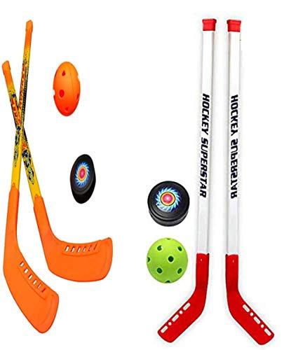 SOWOFA Rasenhockey Zwei-in-Eins-Anzug Trockenland Hockey Gras Schläger 4 Schläger 4 Ball Sport Kinder Eishockey Spielzeug Set Kinder Outdoor Freizeitsport Schläger