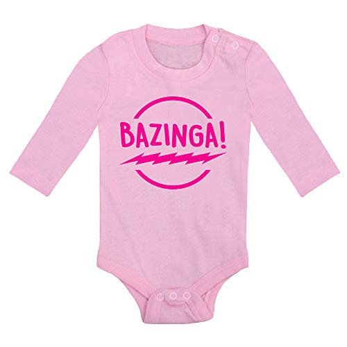 Body bebé Bazinga, Logo Comic Fant Art Parodia The Big Bang Theory. Bebé Friki. Manga Larga. (Rosa, 9 Meses)