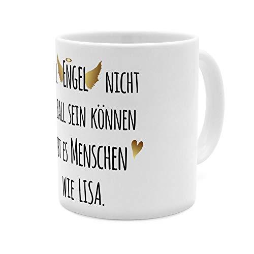 printplanet Tasse mit Namen Lisa - Motiv Engel überall - Namenstasse, Kaffeebecher, Mug, Becher, Kaffeetasse - Farbe Weiß