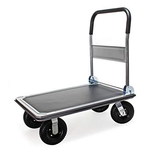 Plattformwagen bis 300kg, luftbereift mit klappbarem Bügelgriff, Kantenschutz und Anti-Rutschbelag