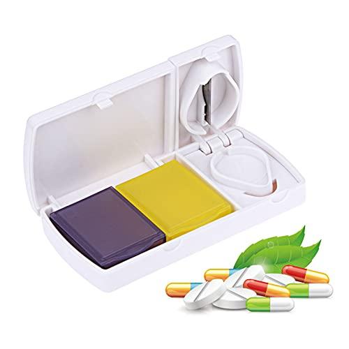 Gsrhzd tablettdelare, avdelare fjärdedelar, vass läkemedelsskärare, kan bäras, lämplig för hemmabruk och sjukhus (vit)