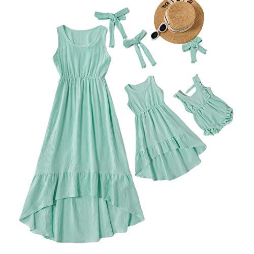 Eghunooye Strandkleid Sommerkleid für Mutter und Tochter,Damen Kind Baby Mädchen Ärmellos Maxi-Kleid Unregelmäßige Lange Kleider,Familie Kleidung Partnerlook Kleider (Himmelblau Mädchen, 5-6 Jahre)