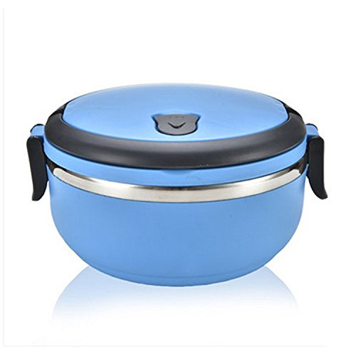 1Pcs Double Locks Round Shape Stainless Steel Thermal Bento Meal Box No-Leak With Handle Food-Grade bowl
