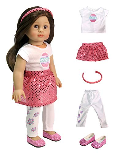 American Fashion World Easter Egg Outfit with Headband and Shoes Made to fit 18 inch Dolls Such as American Girl Dolls