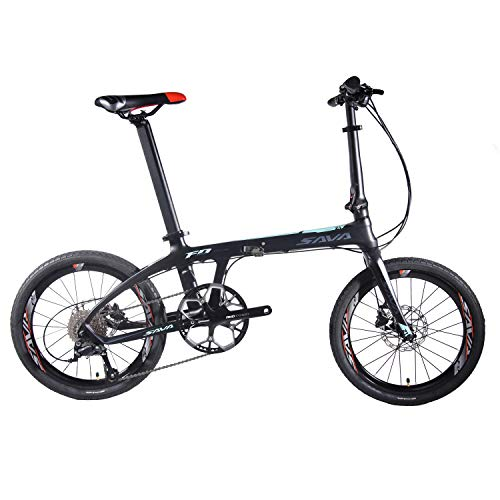 """SAVADECK Z1 Carbon Faltrad 20\"""" City Klapprad mit Kohlefaser Rahmen und Shimano 105 R7000 22 Gangschaltung (schwarz blau)"""