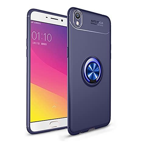 ZHIWEI Das tragbare Handy Tasche Schutzhülle für Oppo R9 Plus Fall Weiche TPU Stoßfest Hülle 360 Grad rotierender Metall Magnetring Kickstand Wärmeableitung Anti-Fall-Schutzhülle (Color : Blue)