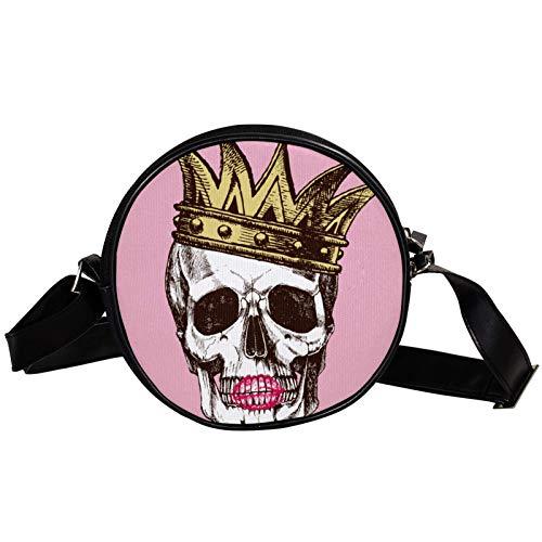 King Of Death Schädel Krone Lippenstift Diagonal Pouch Round Crossbody Wallet Schultertasche Fashion Circle Crossbody Umhängetasche Mini Canvas schräg Umhängetasche