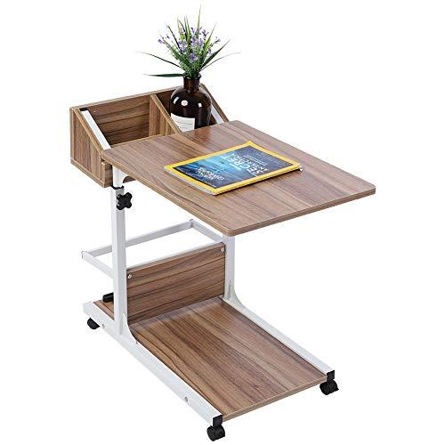 Scrivania per laptop con cassetto portaoggetti Altezza regolabile 50-80 cm Tavolo sopra il letto Tavolini laterali per divani con binari di barriera antiscivolo Tavolo multifunzionale (Rovere antico)