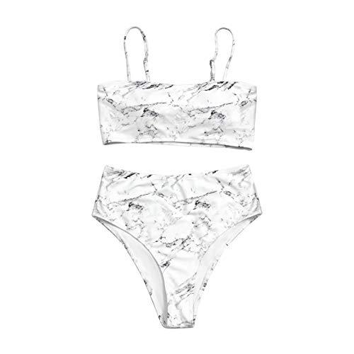 YANFANG Traje de baño Playa natación para Mujer Dividido con Honda Estampada con patrón de Piedra sin posicionamiento navegar Surf