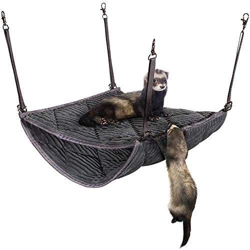 "2 Brothers Wholesale Ferret Double Bunkbed Hammock - Pet Bedding Accessories Playset for Small Animal Cage - Comfy and Plush Hideaway Bed for Little Pets - Top: 12"", Bottom: 16"", Depth: 12"" - Gray"