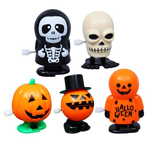 NUOBESTY 5 Stück Halloween Aufziehspielzeug Geisterschädel Kürbisspielzeug für Kinder Plastikspielzeug für Preise Partytaschenfüller für Kleinkinder Kinder Kinder
