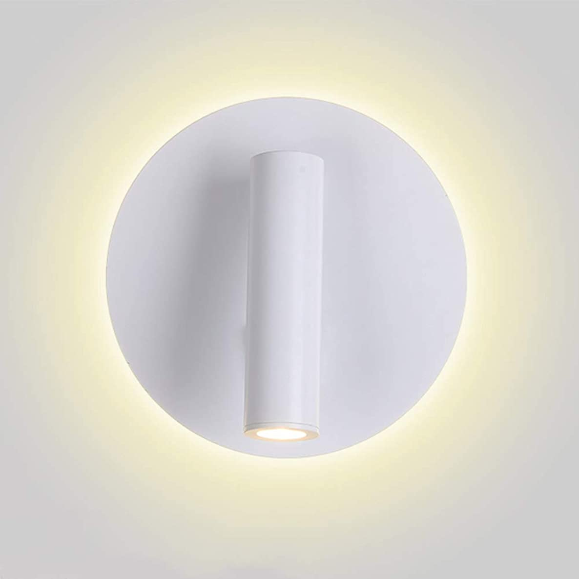 TopDeng Adjustable Angle with on Off Switch LED Reading Light, Hardwired Metal Wall lamp, Creative Bedroom Study Room Wall Lights Warm White 6w-Round-White Diameter14cm