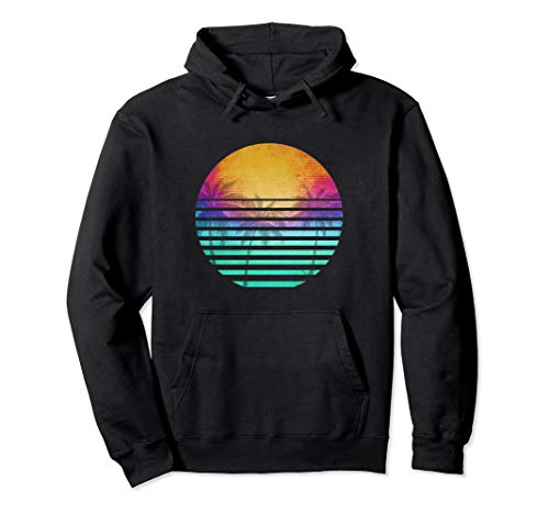 80s Beach Outrun Sunset Hoodie for Men, Women, 3 Colors, S to 2XL