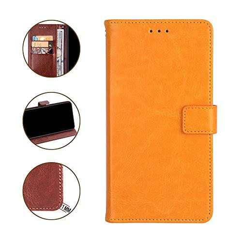 DAYNEW für ZTE Blade V9 Vita Hülle,Tasche Leder Flip Hülle Brieftasche Magnetisch Standfunktion Kartenfächern Handyhülle für ZTE Blade V9 Vita-Gelb