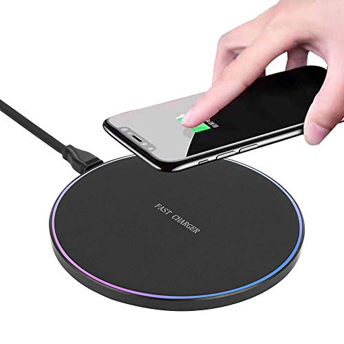 SOKER Wireless Charger 10W Wireless Fast Charging Pad for Samsung S6/S7/S8/Note 9/Note 8, LG NEXUS5-No AC Adapter(Round Black)