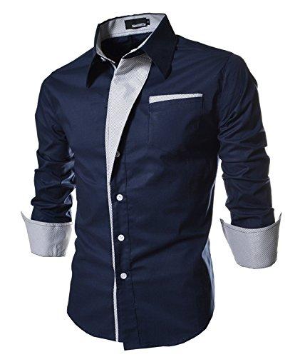 Homme Chic Fashion Chemise de Loisir Manche Longue Shirt Moulée Couleur Contraste Bleu foncé Asie M (FR XS)