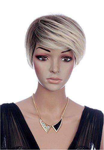 Prettyland Perruque Courte Blond Noir Mèches Effet Ombré Coupe Pixie Cheveux Lisse Raie de Côté Frange C1352
