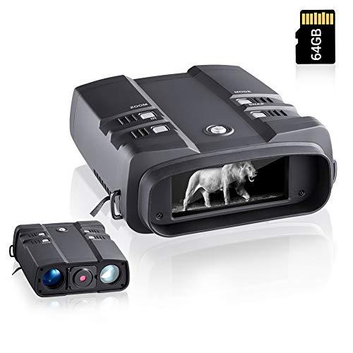 Visore notturno 10,8X, distanza di visione fino a 700 m al buio, visione notturna digitale con videocamere 1080P, visione notturna, binocolo con schermo grande da 4 pollici e scheda di memoria 64 G