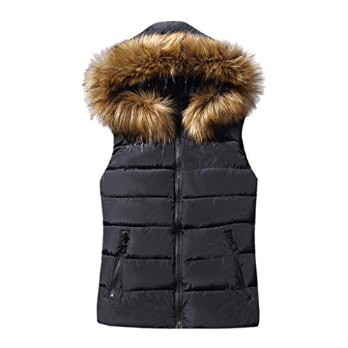 Rosennie Damen Weste Mit Kapuze Übergangsweste Winter Warm Ärmellos Sweatweste Jacke Baumwolle Solide Waistcoat Herbst Jacket Outerwear Mantel (L, Schwarz)