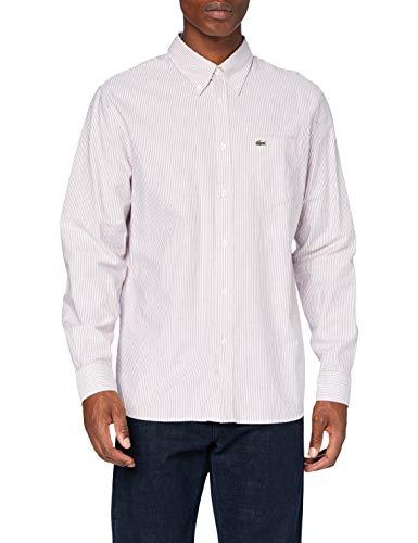 Lacoste CH2945 Camicia Elegante, Blanc/Bordeaux, 43 Uomo