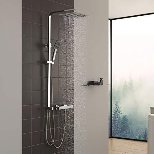 CECIPA Duschsystem ohne Thermostat Duschset Regendusche aus 304 Edelstahl mit Verstellbar Duschstange, Duschkopf 23 * 23CM mit Handbrause, Chrom, Rhea X304C