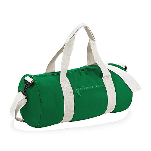 BagBase fassförmige Tasche für Uni, Schule und Sport mit gewebten Griffen, 6 Farben Kelly Green/Off White Einheitsgröße