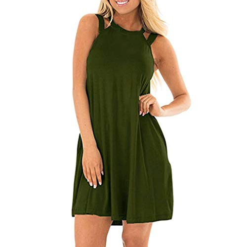 DIPOLA Damen Casual Ärmelloses Kleid Schulterfrei Ärmelloses Trägershirt Kleid Strand Langes Kleid T-Shirt Top (Wein, Rot, Grün, Marine)