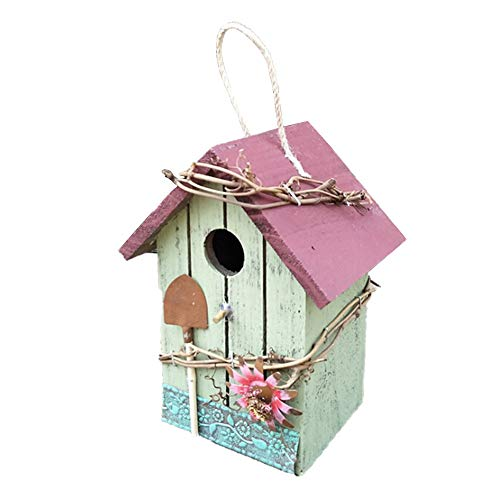 Ironhorse Hanging Wooden Birdhouse Floral Decor Bird House for Outdoor Yard Garden Porch Patio Country Decor
