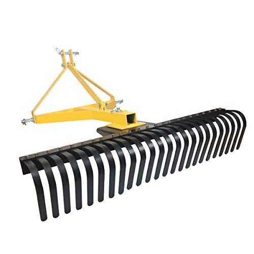 Sulythw 3 Point Attachmnet 4 FT Landscape Rock Rake for Compact Tractors, Tow-Behind Garden Tool 360 Degree Rotation