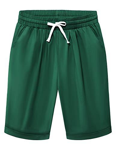 DRESS TELLS Pantalones cortos de chándal para mujer, bermudas, pantalones cortos de deporte, de un solo color, sueltos, con bolsillos gris oscuro S