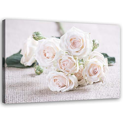 Feeby Leinwandbild XXL Natur Wandbild Kunst Blume Weiß 120x80 cm