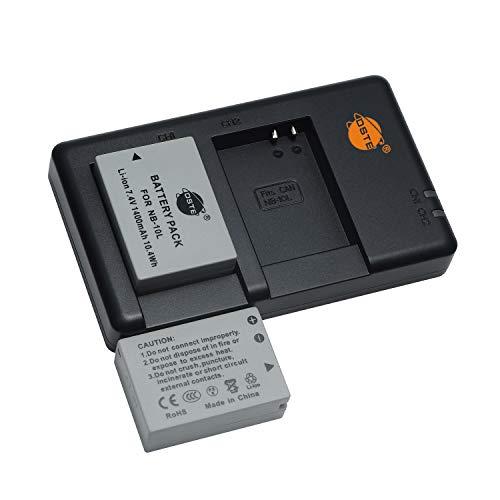 NB-10L - Batería recargable y cargador dual compatible con cámaras Canon PowerShot G1X, G3x, G3 x, G15, G16, SX40, SX50, SX60, etc.