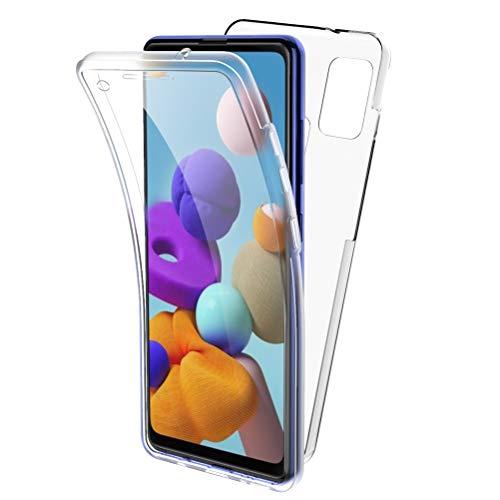 Oududianzi Funda para Samsung Galaxy A21s, 360 Grados Protección Diseñada, Transparente Ultrafino Silicona TPU Frente y PC Back Carcasa Belleza Original Funda de Doble Protección - Transparente