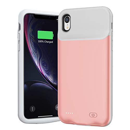 Battery Case for iPhone XR, 6500mAh Extended Portable Battery Pack Rechargeable Smart Charger Case Compatible with iPhone XR (6.1 inch) External Battery Cover Charging Case (Pink)