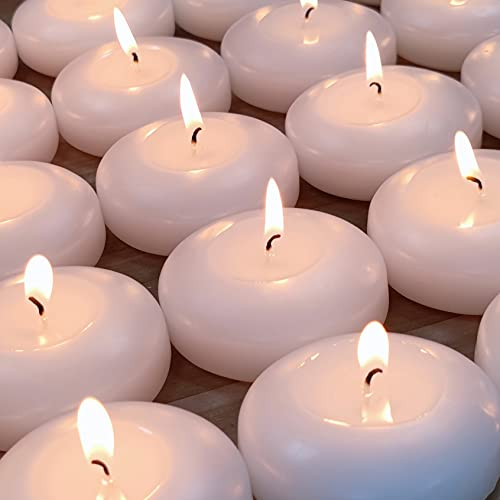 """(Set of 36)Floating Candles, 3"""" White Dripless Wax Burning Candles, for Weddings, Party, Special Occasions and Home Decorations"""