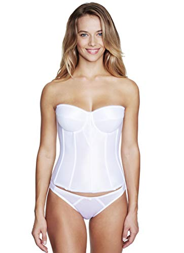Dominique Juliette Longline Corset - Full Length Bridal Bra with Garters-Wht-48C White