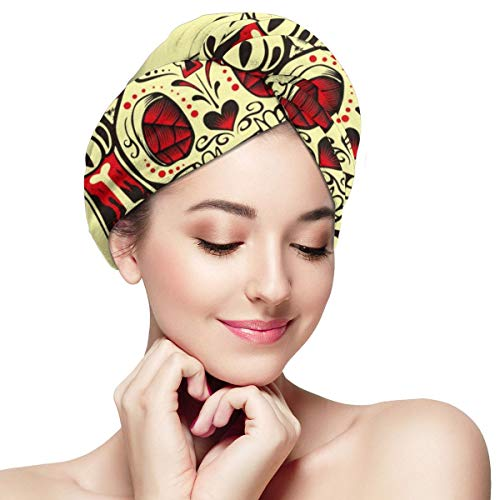 Lucky Cat Playing Poker Cards Microfiber Hair Towel Wraps with Button for Women Quick Dry Anti-frizz Head Turban for Long Thick Curly Hair Super Absorbent Soft Bath Cap 11¡± X 28¡±