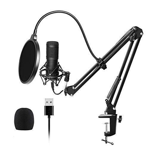 HTMSR USB Mikrofon, Professionelles Podcast Mikrofonstudio Cardioid-Kondensatormikrofon-Kit Mit Soundkarte Boom Arm Shock Mount Pop-Filter Für Skype, Rundfunk, YouTube,Podcasts UVM