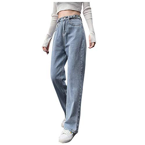 BIBOKAOKE Baggy Jeans Damen High Waist Straight Jeans Farbverlauf Freizeit Loose Gerade Hosen Bootcut Jeans Jeanshosen Glatte Jeans Vintage-Hose mit Weitem Bein