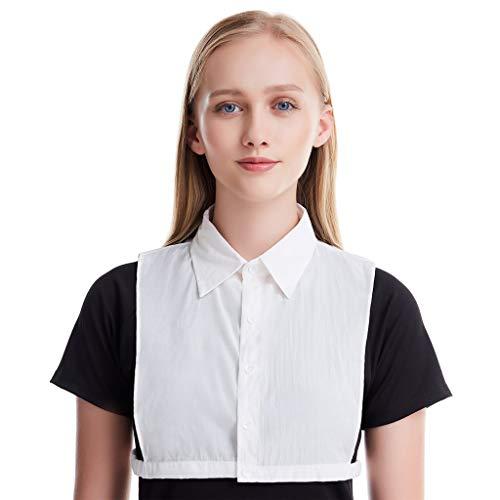 DeHolifer Frauen Mode Einfarbig Baumwollmischung Fälschungs Kragen abnehmbarer Kragen-Blusen halber Hemd-Kragen