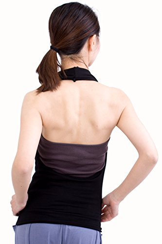 nadoo(ナドゥー)全10色ヨガウェアフィットネスダンス胸元カシュクールホルターネックトップス628(ブラック)