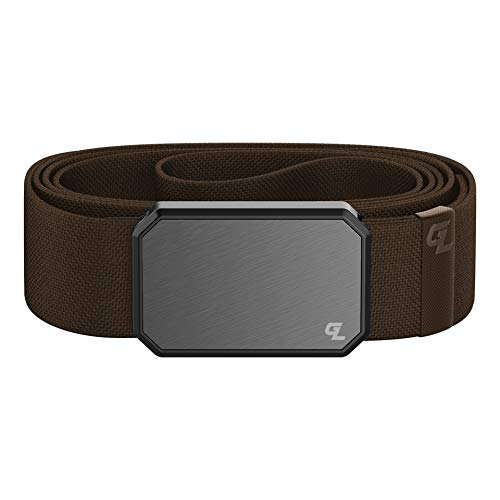 Gun Metal / Brown Groove Belt by Groove Life - Men's Stretch Nylon Belt with Magnetic Aluminum Buckle, Lifetime Coverage - Medium