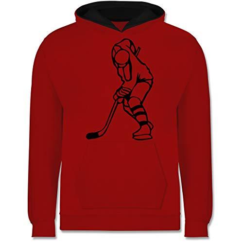 Sport Kind - Eishockeyspieler - 128 (7/8 Jahre) - Rot/Schwarz - Mensch - JH003K - Kinder Kontrast Hoodie