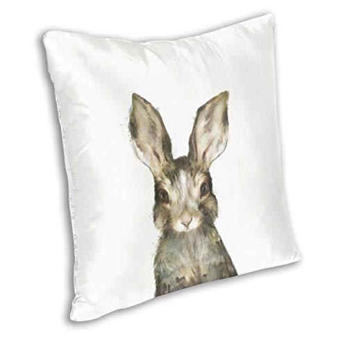 Funda de almohada decorativa con diseño de conejo, acuarela, 24 x 24 pulgadas