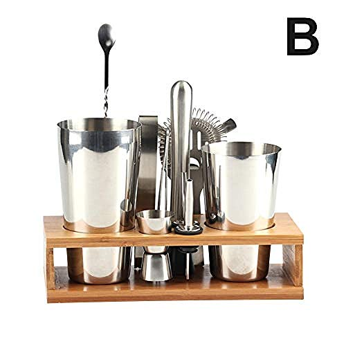 YYHJ 12PCS Cocktail Shaker Cocktail Mix Kit Cocktail Maker Set Barra de Acero Inoxidable Kit de Barman y Soporte de exhibición de Madera