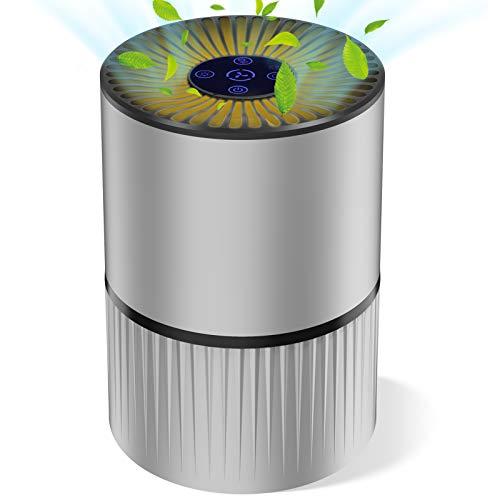 Purificador de Aire para Hogar Oficina 4 en 1 Filtro HEPA Carbón Activado,con Purificación de Iones Negativos, Aromaterapia, Luz Nocturna y Temporización para Mascotas/Humo/Gérmenes/Polvo (Gris)