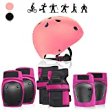 Luar Global Protective Gear for Roller Skating with Knee Elbow Pads Wrist Guard and Helmet Adjustable for Kids, Youth and Adult   Upgraded Skating Protective Gear Professional Set (Pink, Large)