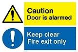Viking Signs Vinilo/Pegatina, 300mm x 200mm, Texto 'Caution Door Is Alarmed, Keep Clear Fire Exit Only' (Precaución: La Puerta Tiene Alarma, Mantener Despejado: Solo Salida De Emergencia)